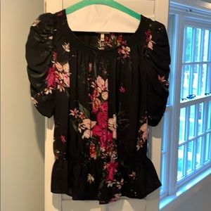Joie black and pink blouse